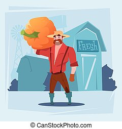 Farmer Man Gather Pumpkin Harvest Silhouette Farm Background...