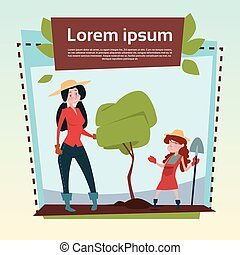 Small Girl Farmers Daughter And Mother Hold Spade Growing Tree Banner Copy Space