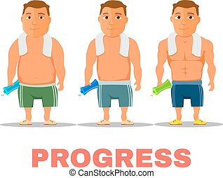 Cartoon guy fit progress, after work out. Vector - Cartoon...