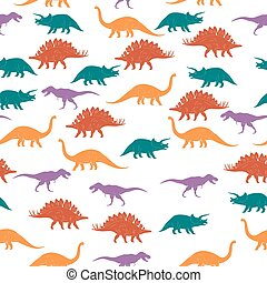 Colorful Dinosaurus Seamles Pattern Background. Vector...