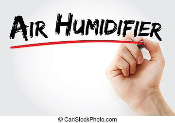 Hand writing Air humidifier with marker, concept background