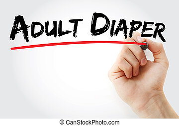 Hand writing Adult diaper with marker, concept background