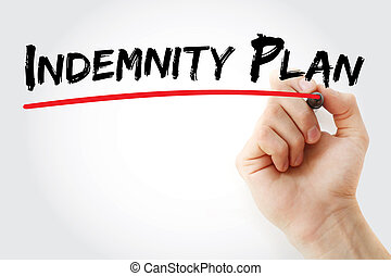 Hand writing Indemnity plan with marker, concept background