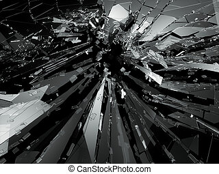 Bullet hole Cracked and Shattered glass . 3d rendering 3d...