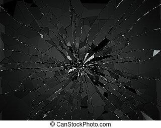 Damaged or broken glass on black. 3d rendering 3d...