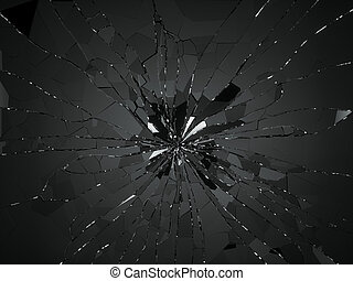 Bullet hole and pieces of shattered or smashed glass. 3d...