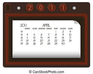 april 2011 leather calendar against white background,...