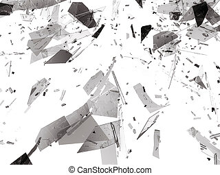 Pieces of Broken or Shattered glass on white. 3d rendering...