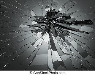 Shattered or demolished glass over black. 3d rendering 3d...