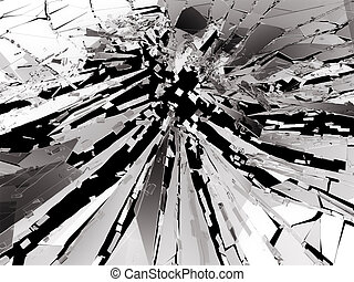 Shattered or broken glass Pieces on black. 3d rendering 3d...