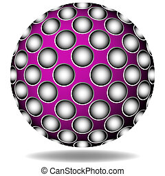 purple abstract sphere against white background; art...