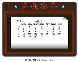 march 2011 leather calendar against white background,...