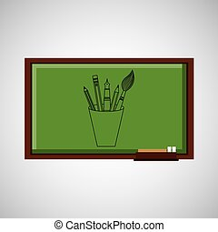 education concept blackboard with tools school