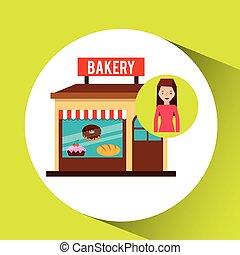 girl bakery shopping gift buying vector illustration eps 10