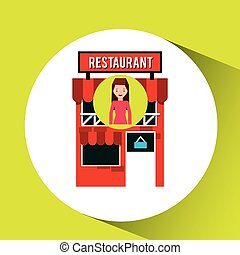 girl restaurant shopping gift buying vector illustration eps...
