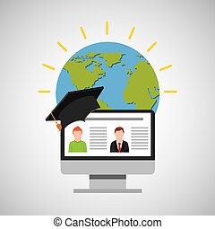 education online global video conference vector illustration...