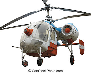 Old russian double rotor helicopter K-26 isolated over white