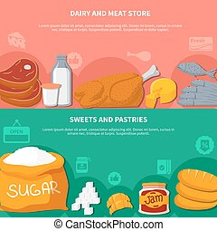 Dairy Meat Sweets Pastries Food Banners