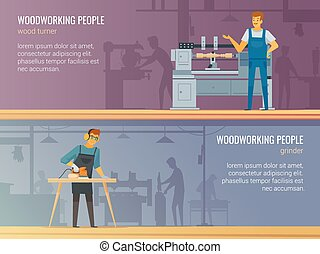 Woodworking Carpentry Service 2 Flat Banners - Woodworking...