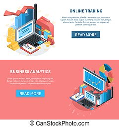 Financial Isometric Icons Banners Set - Online trading and...