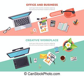 Workplace Office Horizontal Banners - Horizontal banners of...