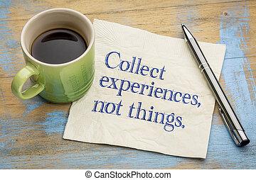 no, recoger, experiencias, cosas