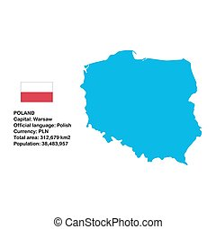 Poland - Map of Poland with flag