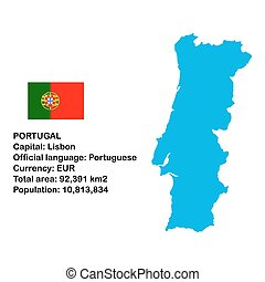 Portugal - Map of Portugal with flag
