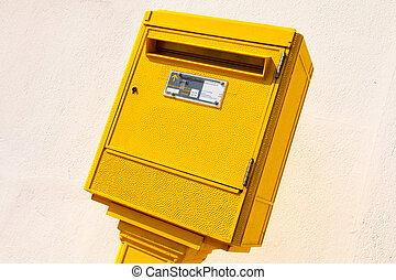 Letter Box in the street - yellow letter Box in the street