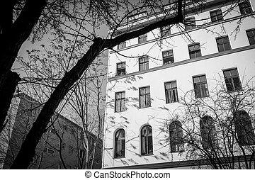 old house in Berlin Kreuzberg, black and white