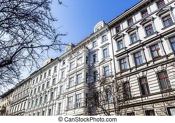 facade of an white old house in Berlin Kreuzberg