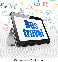 Tourism concept: Tablet Computer with Bus Travel on display...