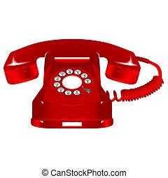 retro, 紅色, 電話