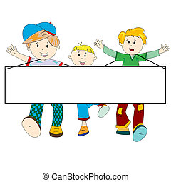 happy kids cartoon with blank banner against white...