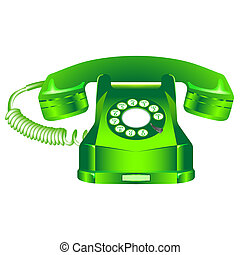 green retro telephone against white background, abstract art...