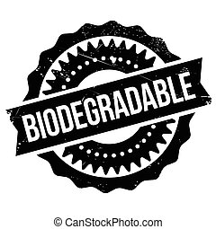 Biodegradable stamp. Grunge design with dust scratches....