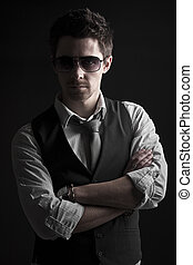 Handsome Male in Sunglasses - Low Key Shot of a Handsome...