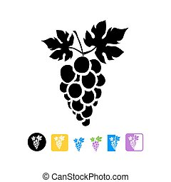 Grapes - Bunch of grapes with leaf flat icon