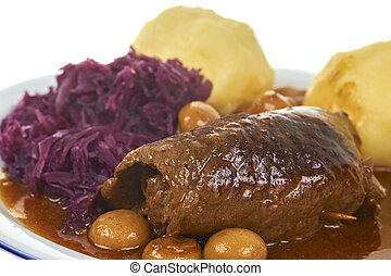 Bavarian Food - Bavarian Roulade With Dumpling And Blue...