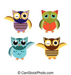 Cartoon owl set vector illustration. - Cute vector owl...