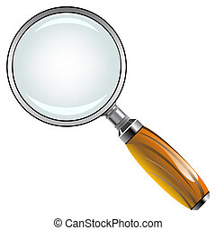 magnifying glass with wooden handle against white...