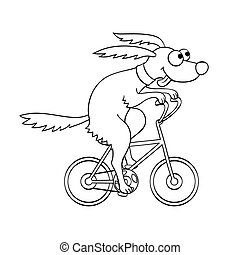 Cute dog riding a bicycle. Vector illustration. Isolated on...