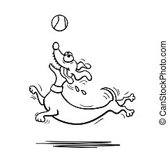 Dachshund dog playing with tennis ball. Vector illustration....
