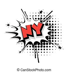 Comic text NY sound effects pop art - Lettering NY Comic...