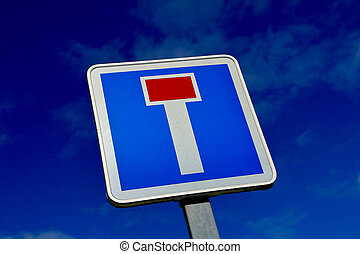 French dead end street road sign on blue sky