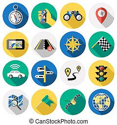Flat Navigation Icon Set - Flat round navigation colored and...