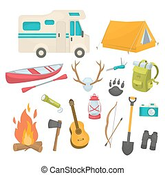 Camping Decorative Icons Set - Camping decorative icons set...