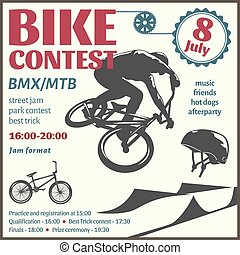 BMX Event Flyer - BMX event flyer with bicyclist in center...