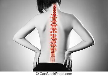 Spine pain, woman with backache and ache in the neck, black and white photo with red backbone