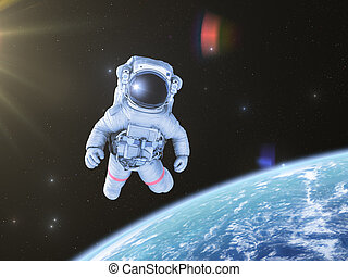Astronaut in space, 3d render, - Astronaut in outer space,...